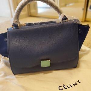 Celine drummed calfskin suede small trapeze bag